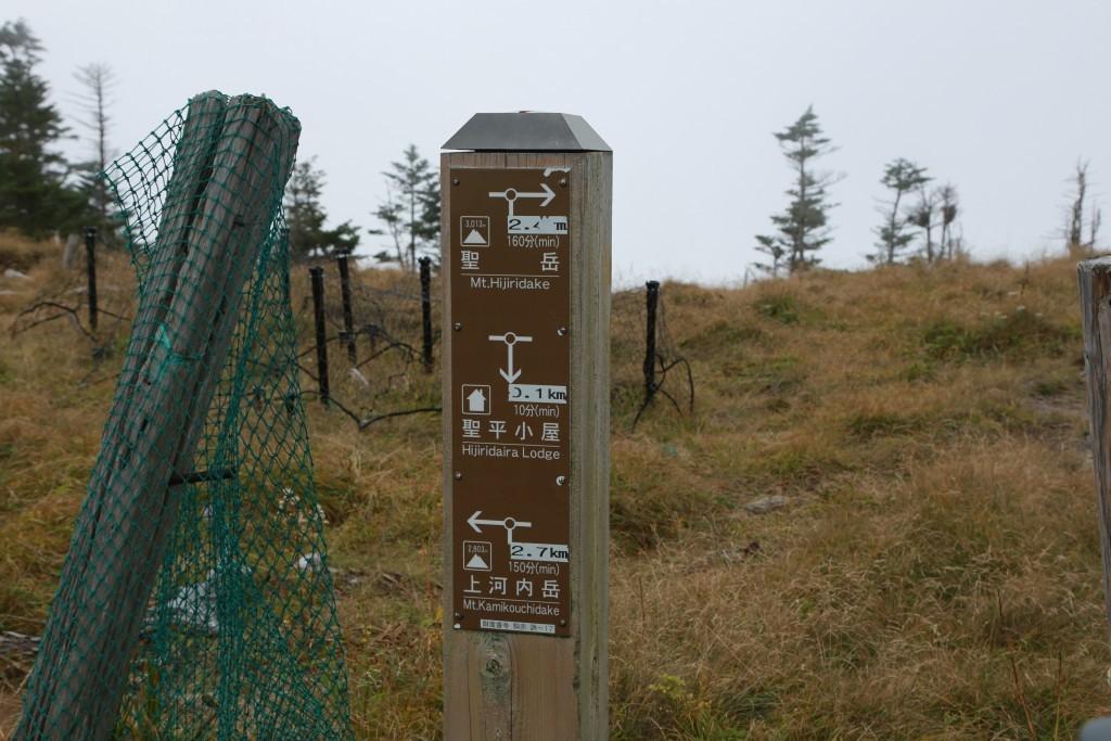 聖平小屋分岐 標識