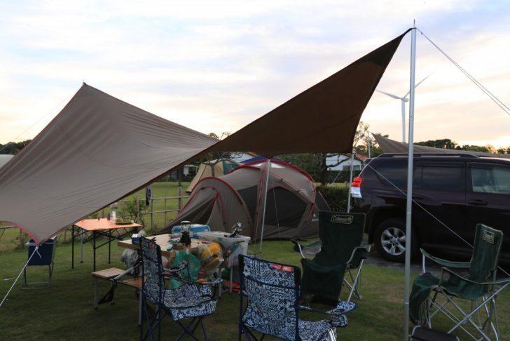 竜洋海洋公園 区画サイト テント・タープ設営後2