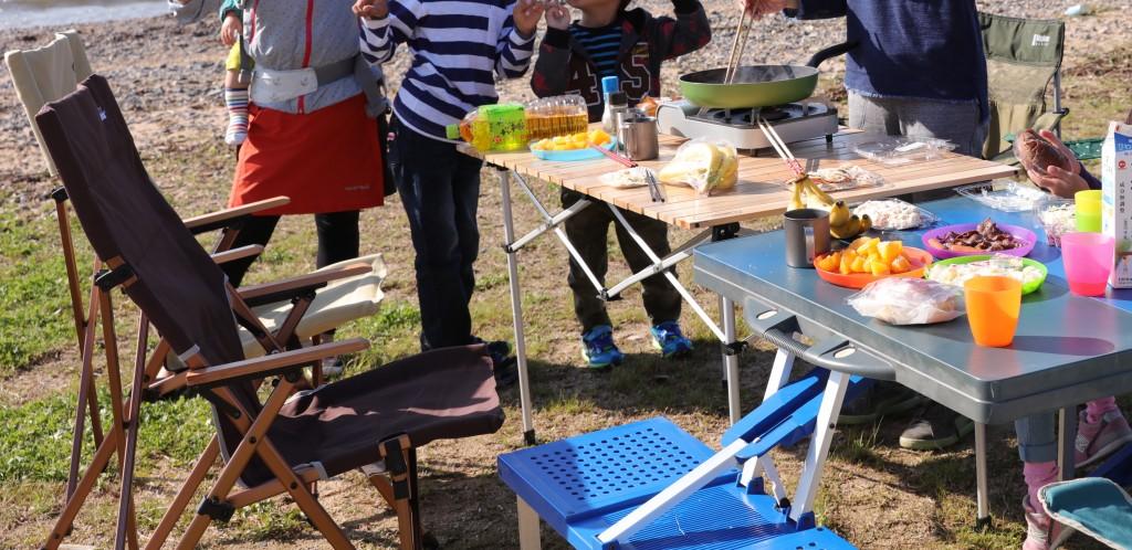 高木浜オートキャンプ場 ビーチで朝食