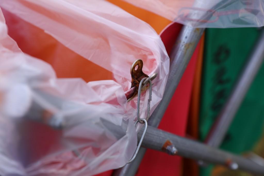 ひだ流葉オートキャンプ場 ゴミ箱+ビニール袋+クリップ