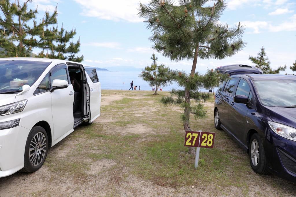 マキノサニービーチ高木浜 琵琶湖のファミリーサイト 設営前
