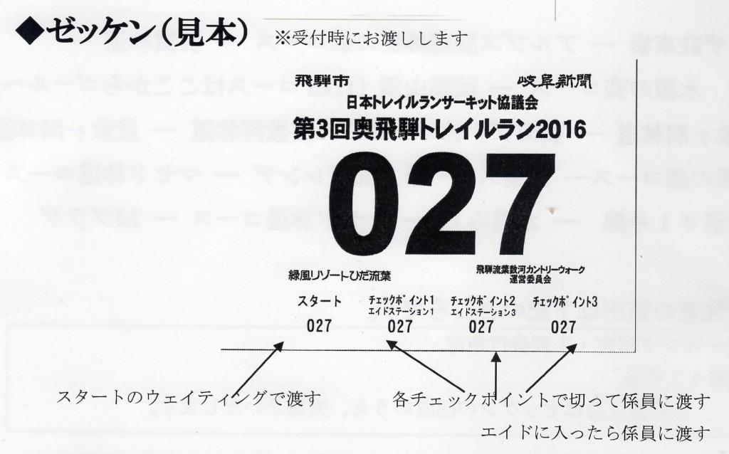 160612 奥飛騨トレイルラン ゼッケン