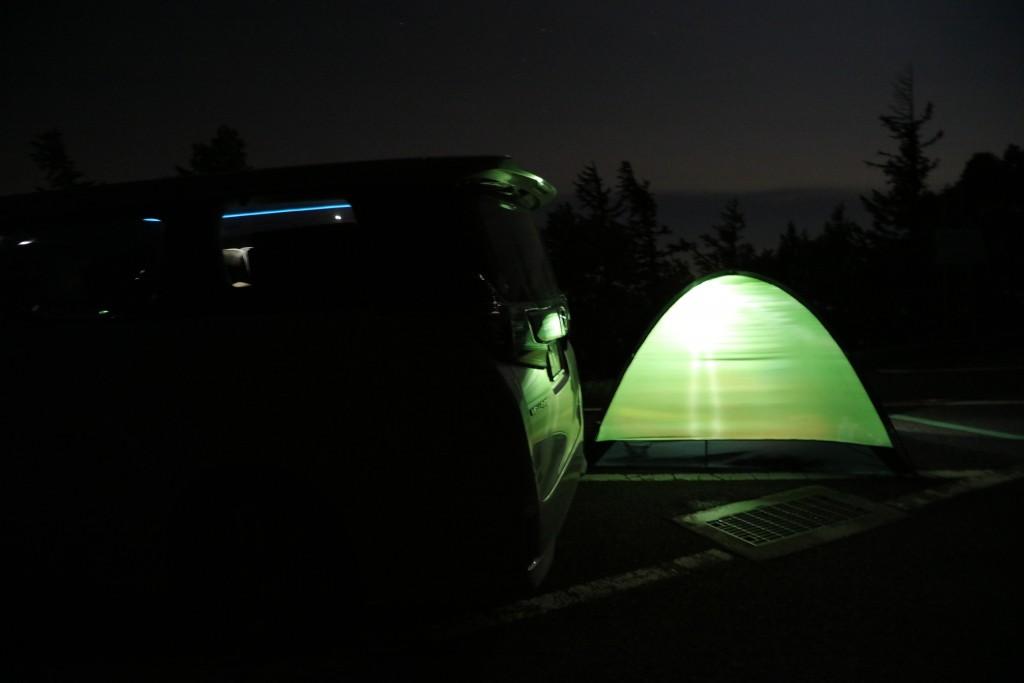 富士宮口五合目駐車場にテント設置