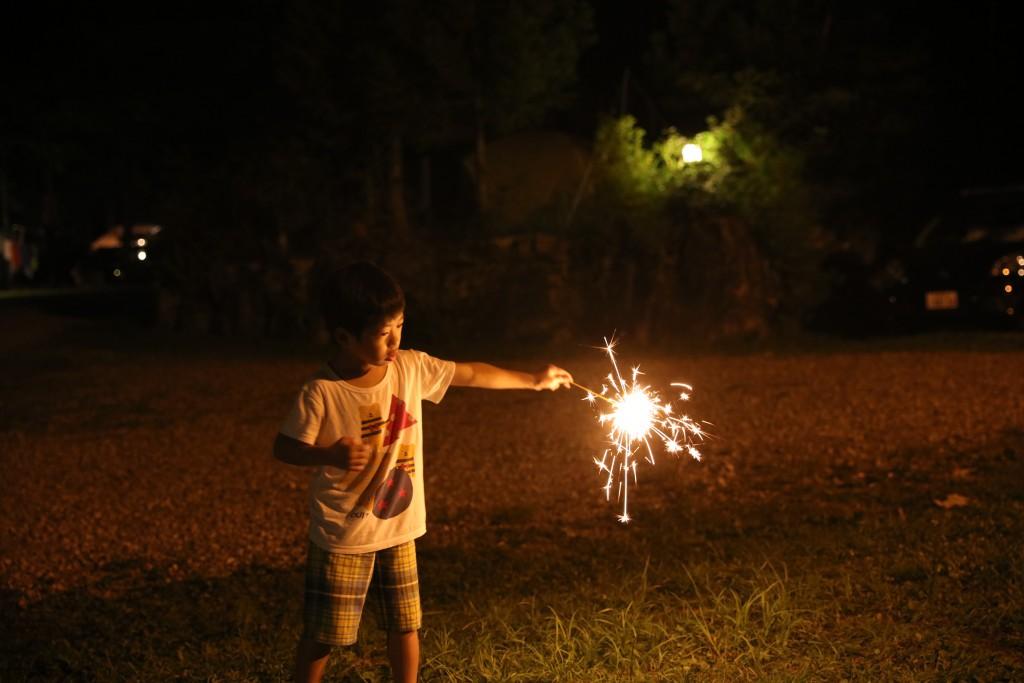 カオレオートキャンプ場で花火