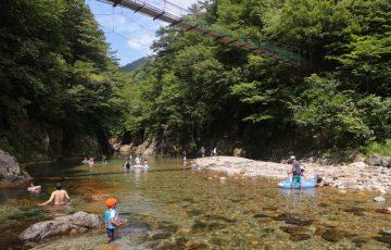 板取キャンプ場 吊り橋の下2