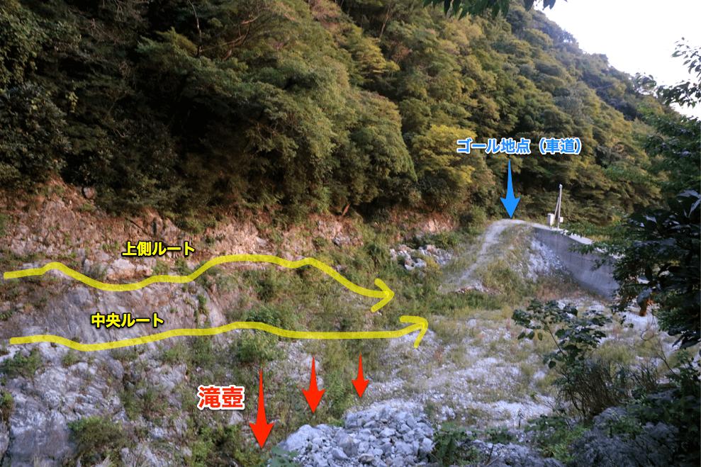 藤原岳 最後のダム付近岩場(ルート付き)