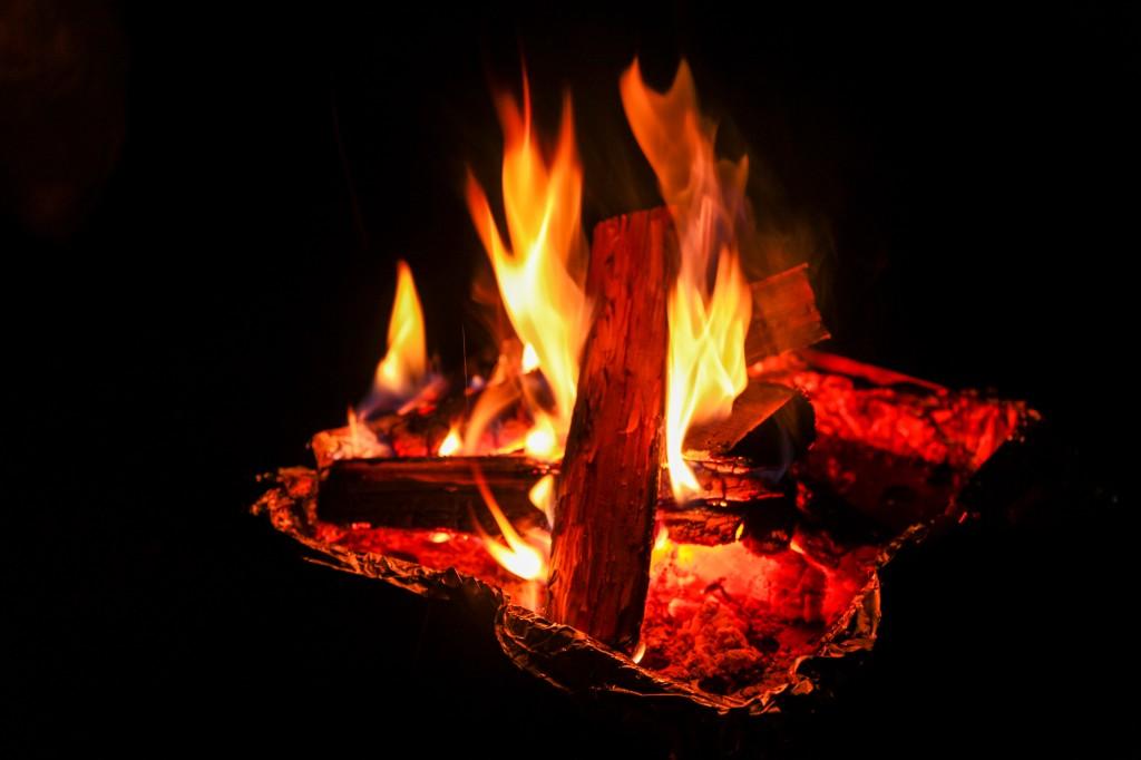 うるぎ星の森オートキャンプ場で焚き火