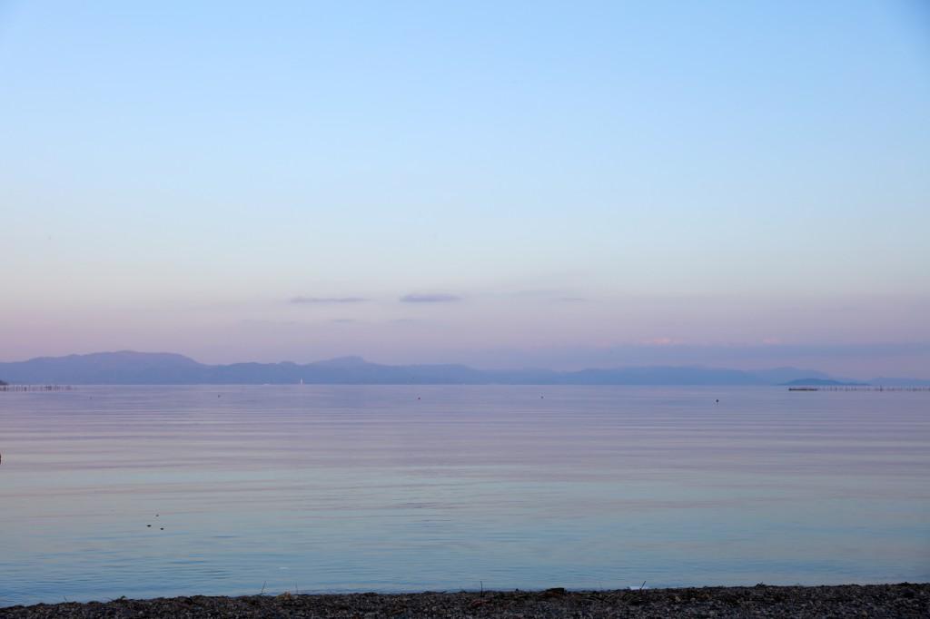 高木浜オートキャンプ場 幻想的な琵琶湖の夕暮れ1