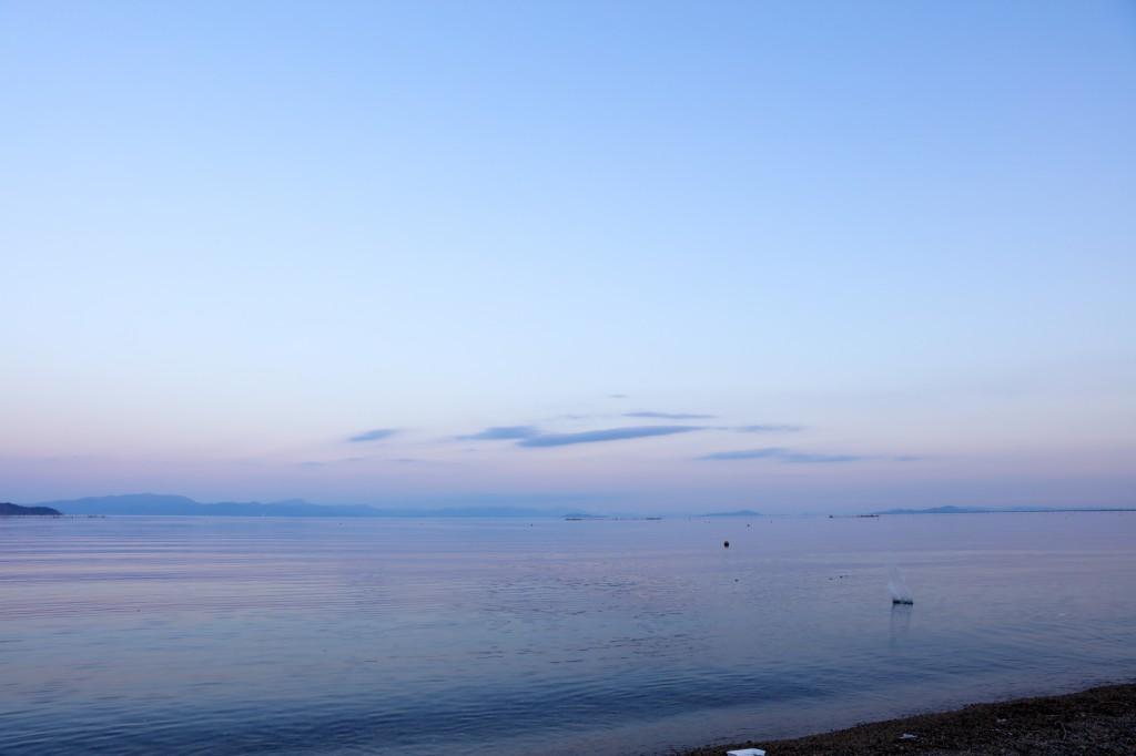 高木浜オートキャンプ場 幻想的な琵琶湖の夕暮れ2