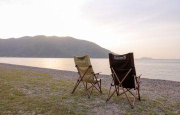 高木浜オートキャンプ場 琵琶湖の朝日でコーヒー