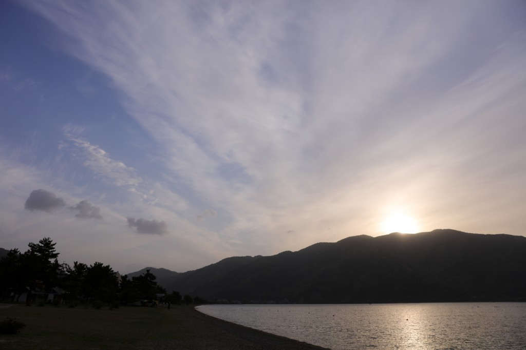 高木浜オートキャンプ場 琵琶湖の朝日