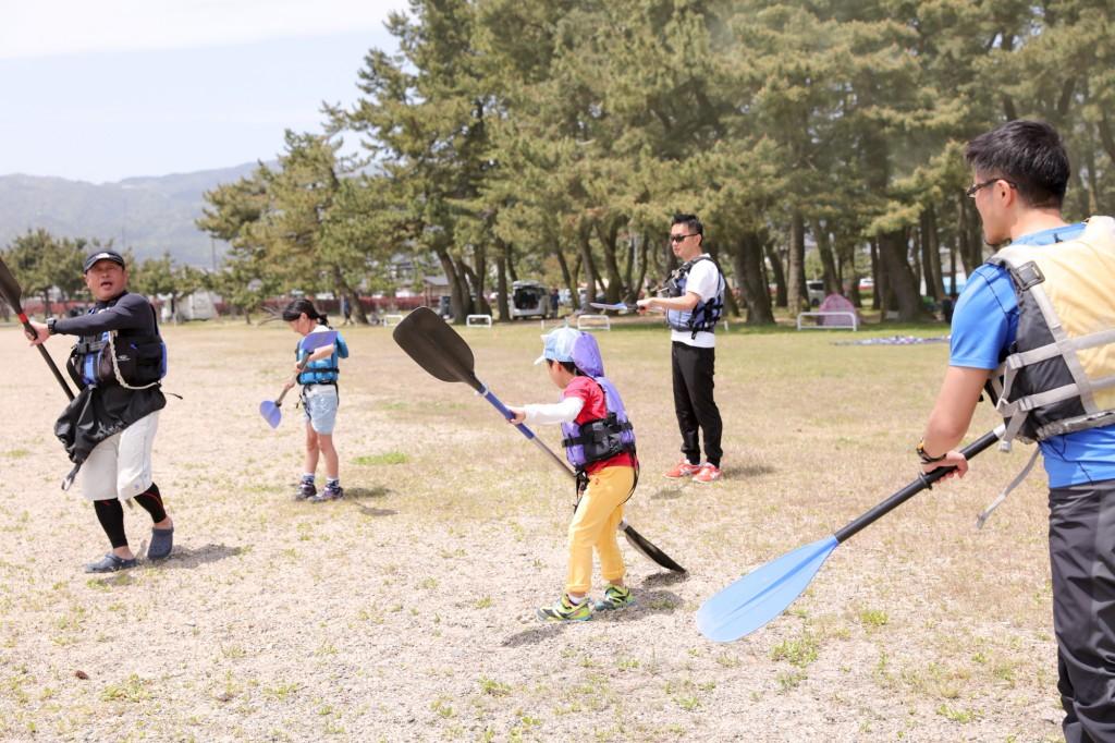 知内浜オートキャンプ場 カヤック体験 練習