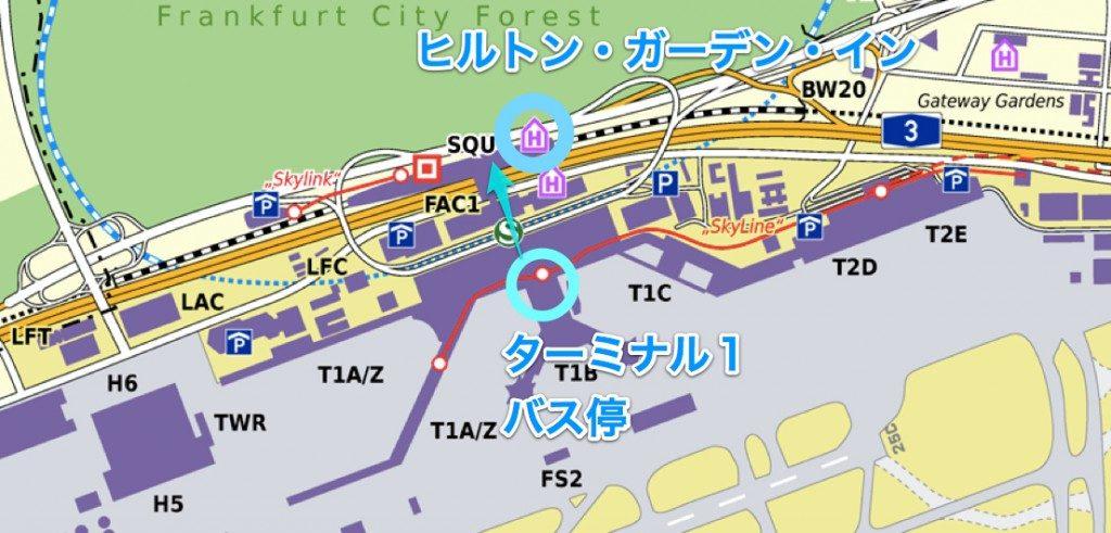 フランクフルト空港〜ヒルトン マップ