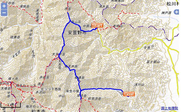 燕岳・大天井岳・常念岳 国土地理院地図