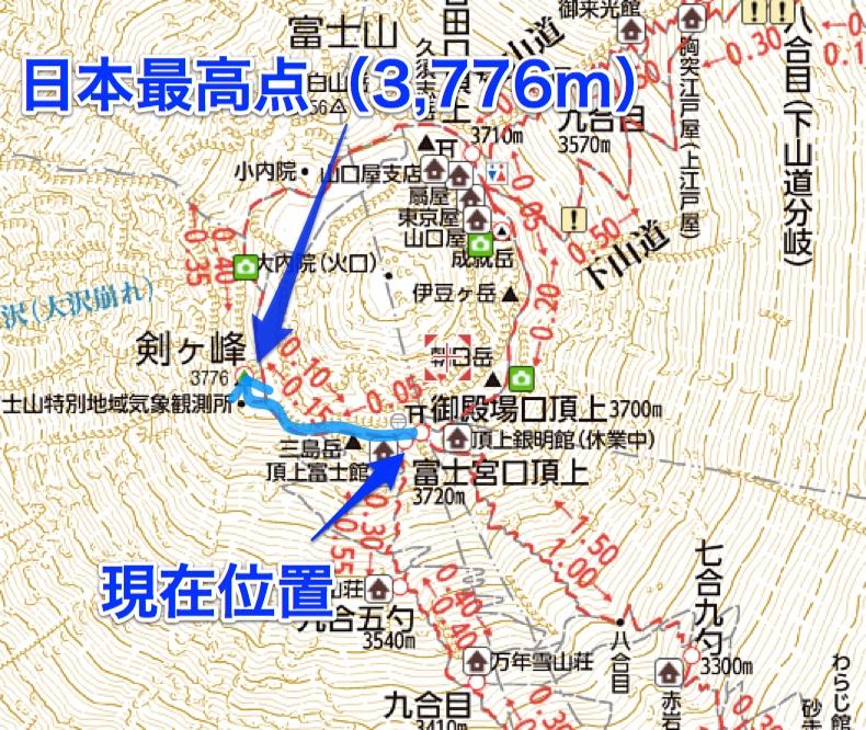 富士山 富士宮口頂上〜剣ヶ峰 地図