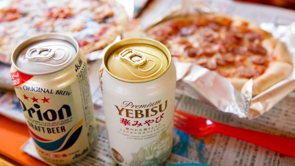 知内浜オートキャンプ場 ビールで乾杯