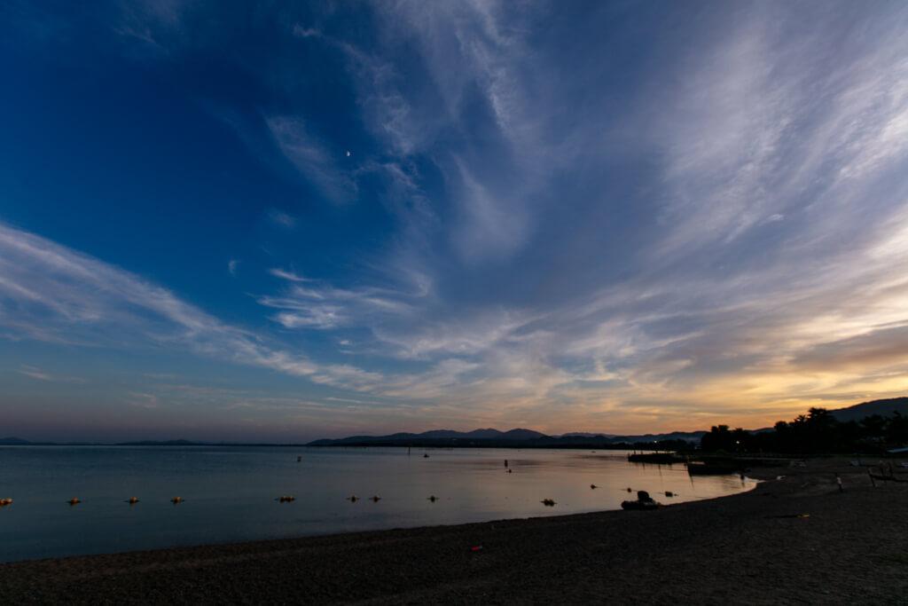 知内浜オートキャンプ場の琵琶湖