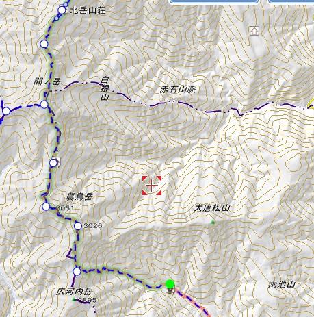 大門沢小屋〜北岳山荘 地図