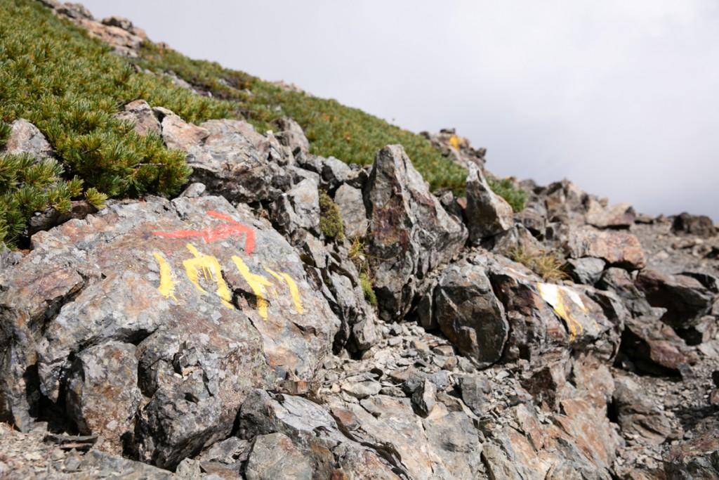 農鳥岳への標識
