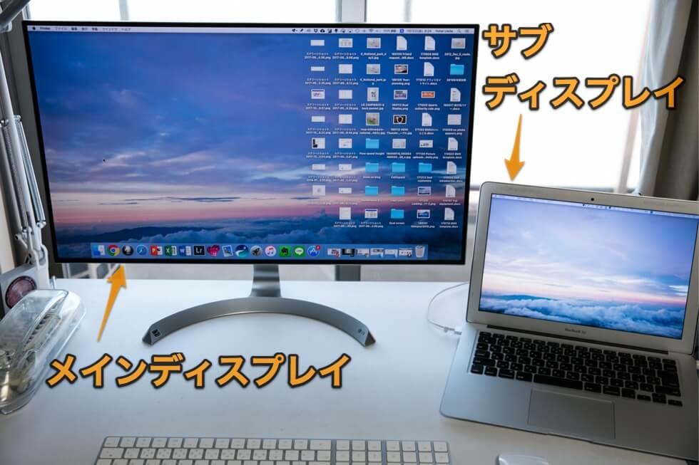 mac デュアルディスプレイ 設定後