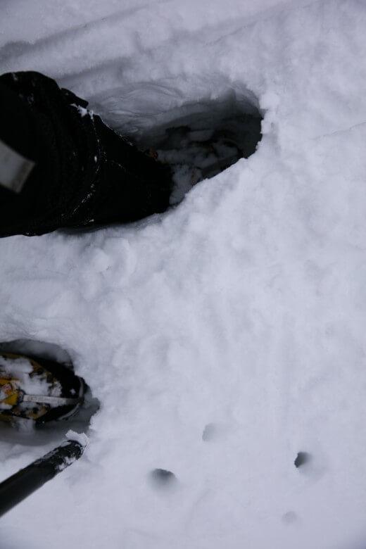 冬の伊吹山 膝下まで雪で埋まる
