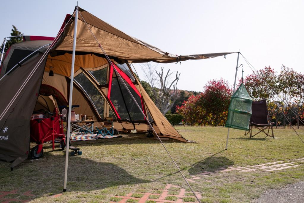 志摩オートキャンプ場 Bサイト テント・タープ設営後