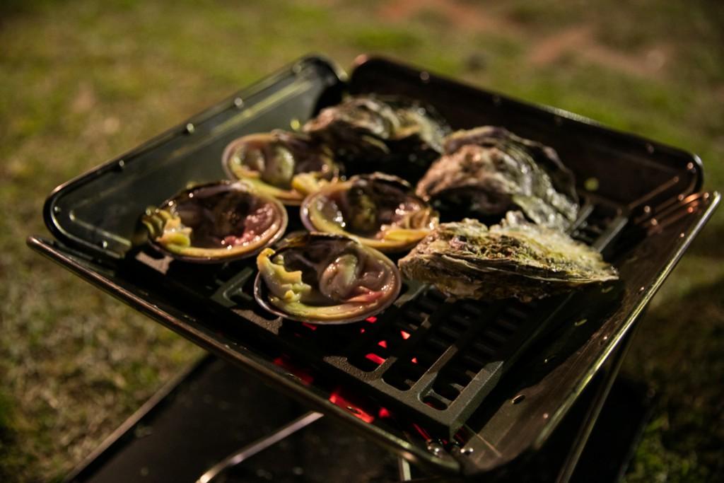 志摩オートキャンプ場で海鮮バーベキュー 牡蠣と大アサリ