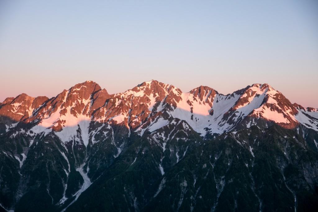 穂高連峰のモルゲンロート2