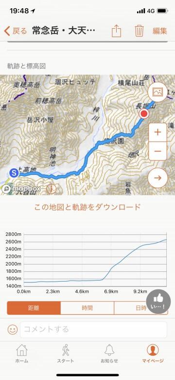 無料登山アプリ YAMAP活動記録10