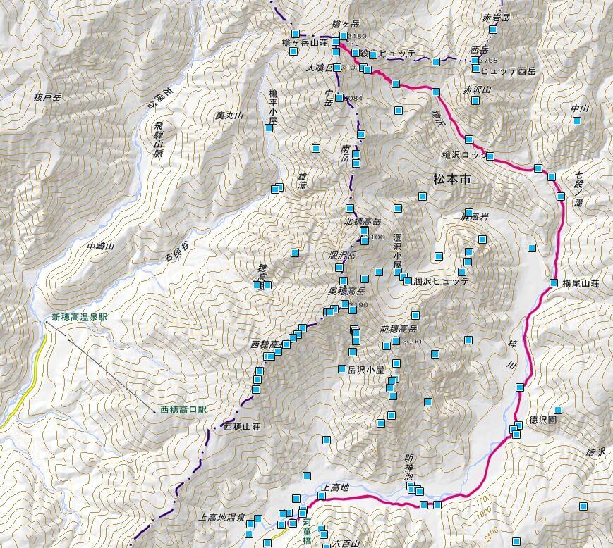 槍ヶ岳 槍沢ルート 地図