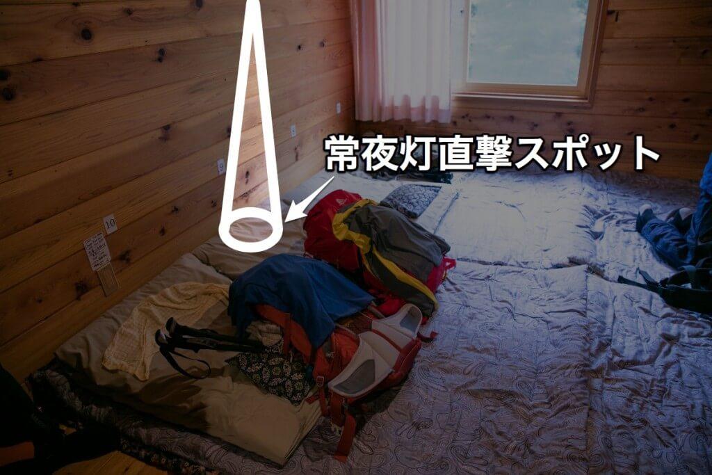 槍沢ロッヂ 寝室 常夜灯
