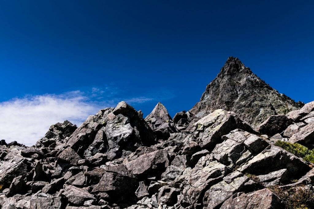 槍ヶ岳と岩
