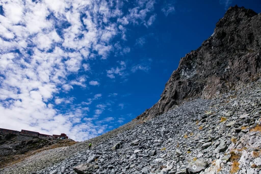 槍ヶ岳と砂利