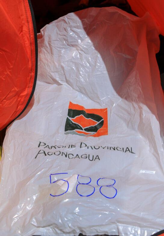 アコンカグア登山 ゴミ袋