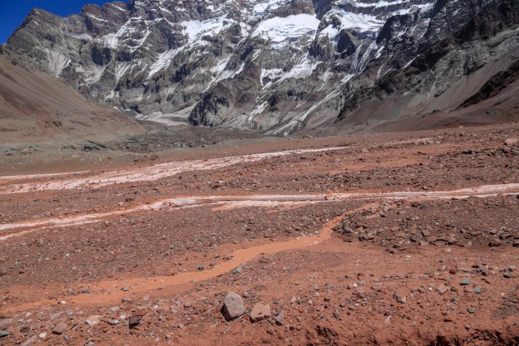 アコンカグア南壁付近の沢