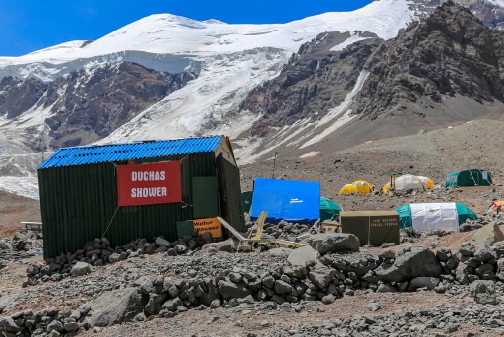 アコンカグア登山ベースキャンプ プラザ・デ・ムーラスのシャワー