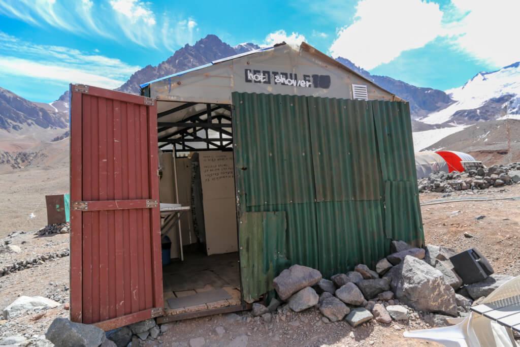 アコンカグア登山ベースキャンプ プラザ・デ・ムーラスのシャワー1