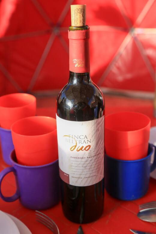 アコンカグア登山ベースキャンプ プラザ・デ・ムーラスでワイン