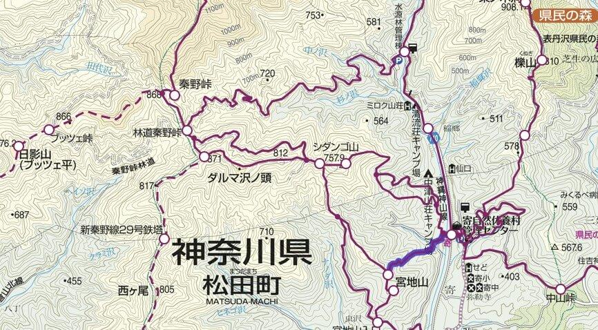 丹沢 宮地山 地図