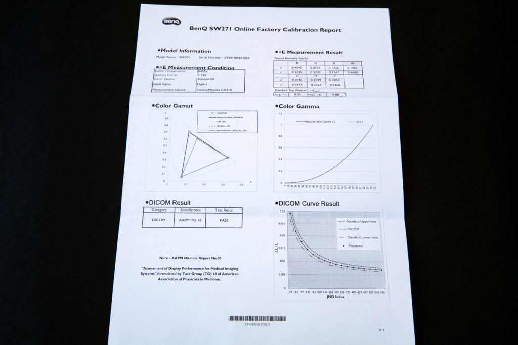 BenQ SW271 キャリブレーションレポート