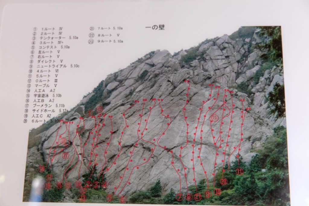御在所岳 藤内壁 一の壁ルート図