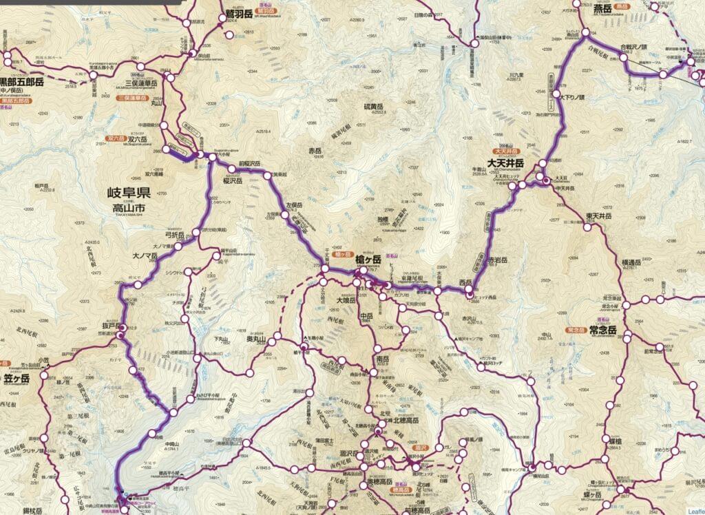 表銀座縦走+双六岳 地図