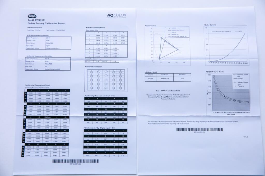 BenQ SW270C キャリブレーションレポート