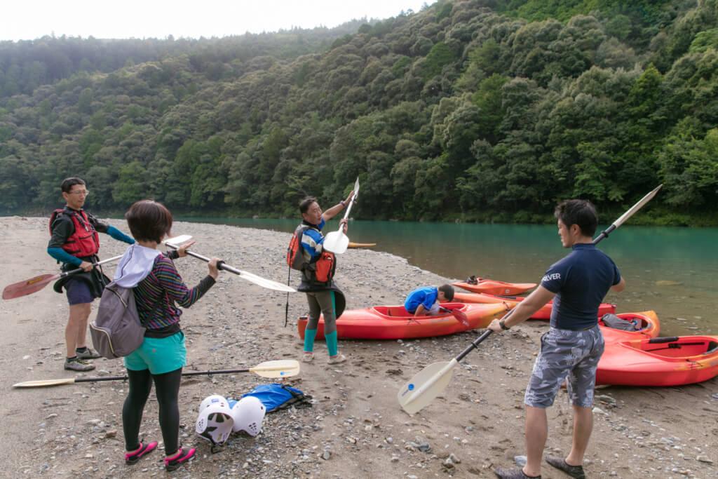 和歌山県新宮市 赤木川カヤック体験 漕ぎ方講習