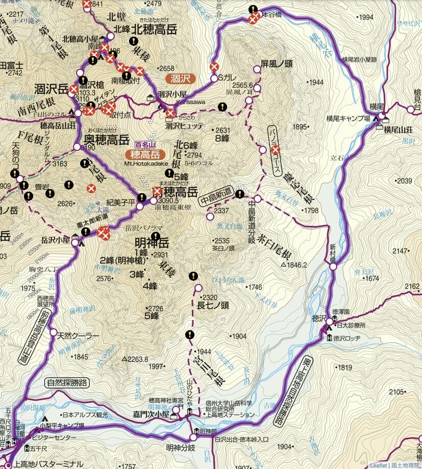 穂高連峰 地図