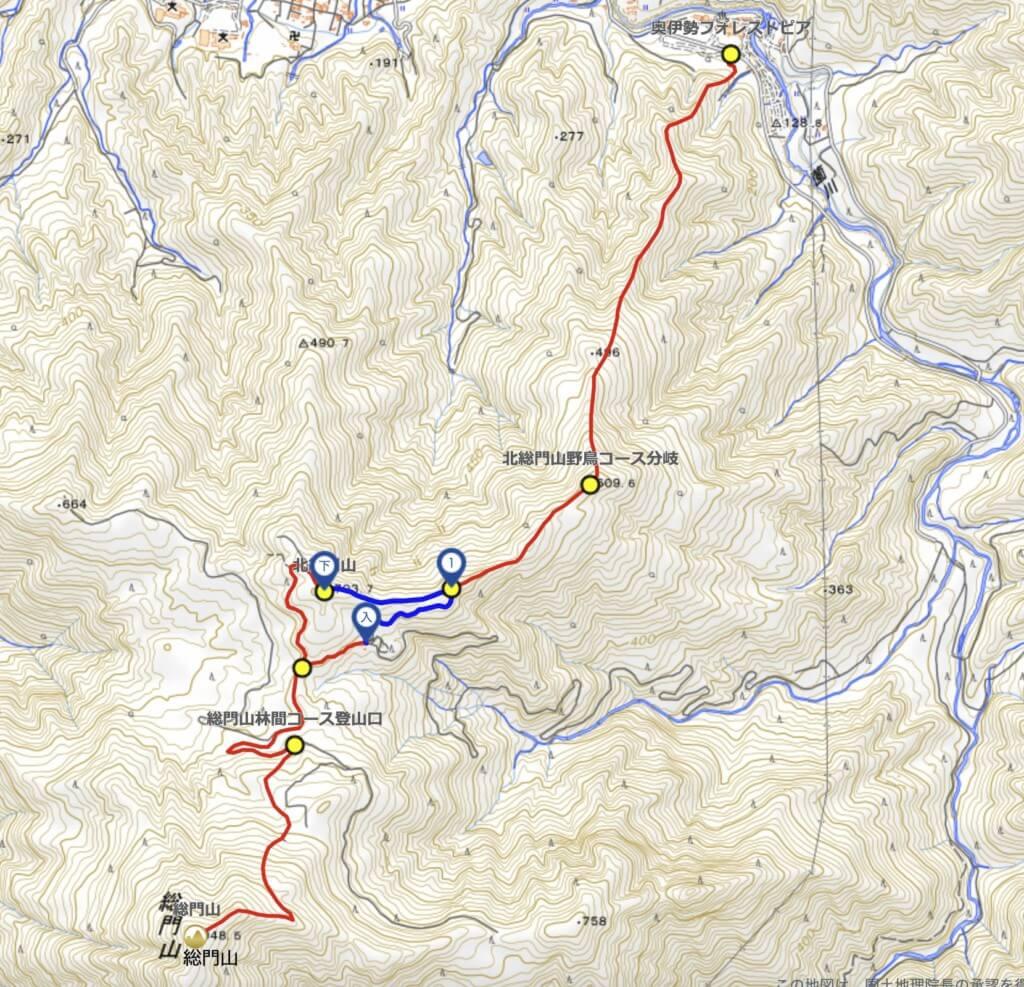 北総門山 登山 地図