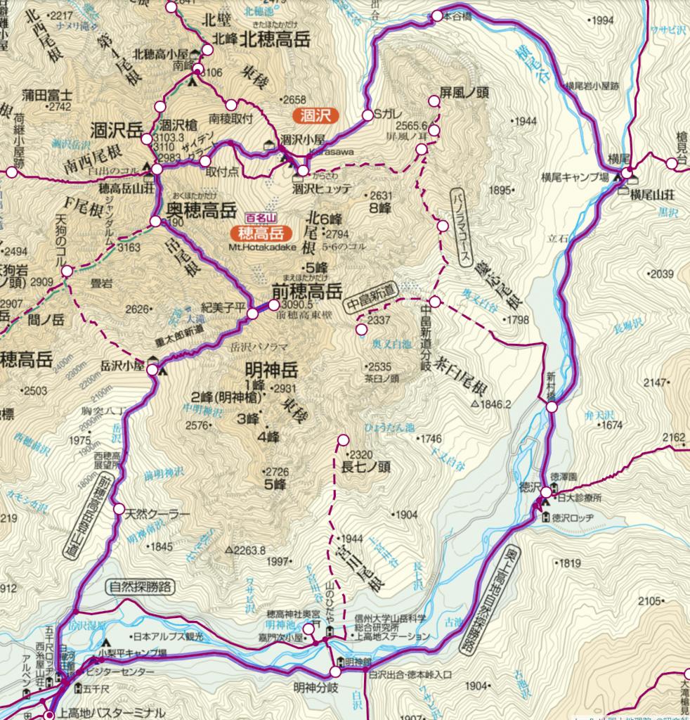 穂高連峰縦走 ルート地図