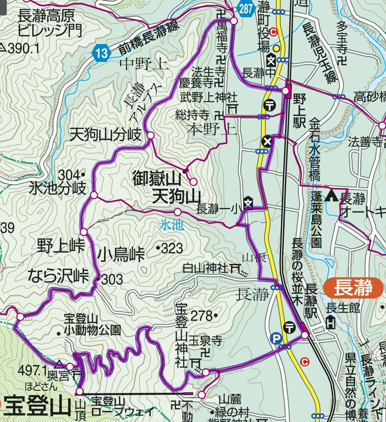 長瀞アルプス〜宝登山 地図