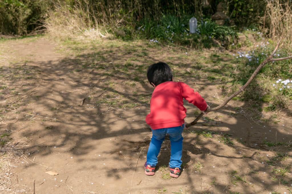 鎌倉ハイキング 衣張山 山頂で遊ぶ