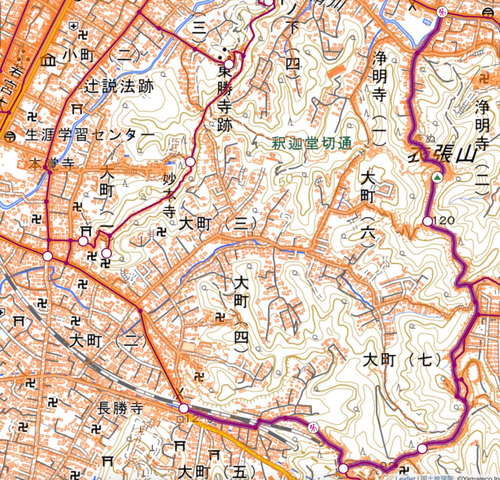 鎌倉ハイキング 衣張山 地図